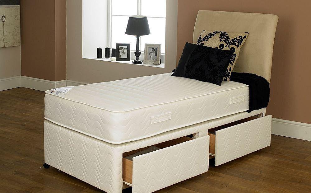 Supreme Vasco Single Memory Foam 2 Drawer Divan Bed - Medium / Firm