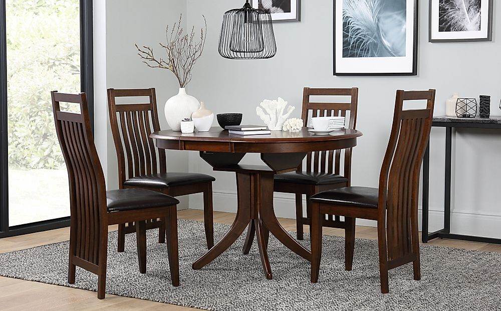 Hudson Round Extending Dark Wood Dining Table and 4 Java Chairs Set
