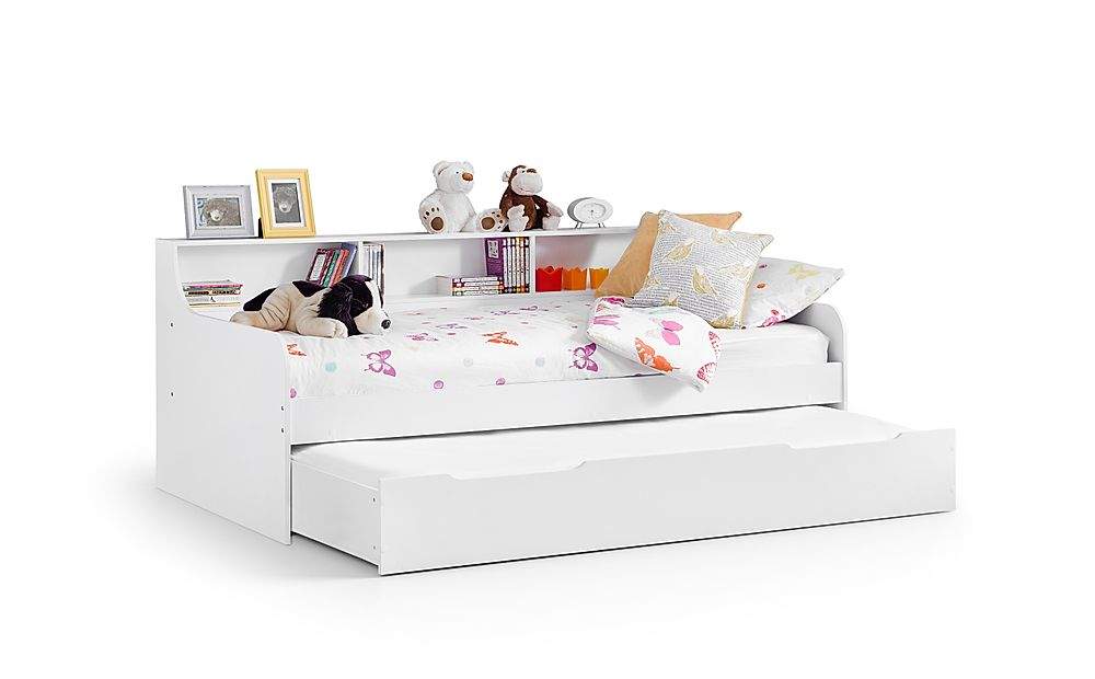 Virgo White Storage Day Bed with Trundle Single