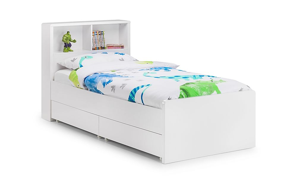 Coco White High Gloss Storage Bed with 2 Drawers Single
