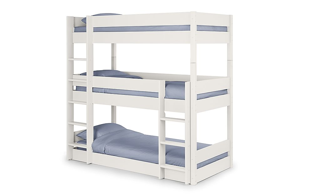 Harper White Triple Bunk Bed Single