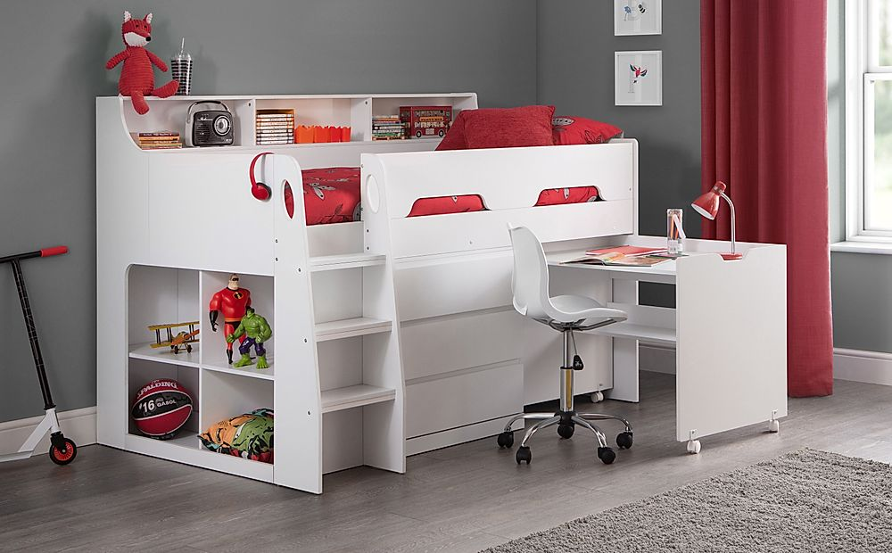 Saturn White Midsleeper with Storage and Desk Single