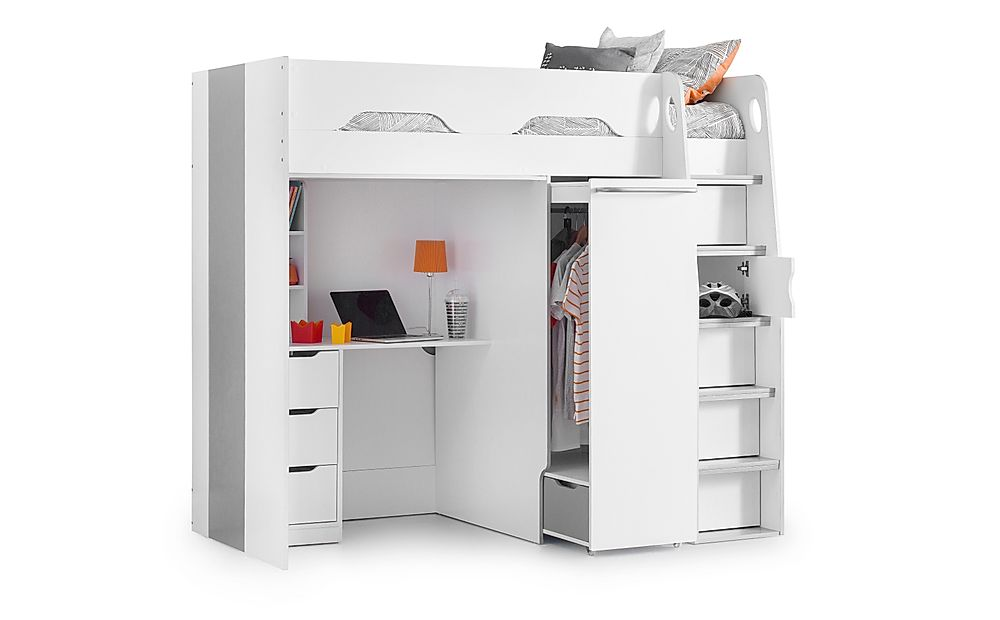 Vega White Wardrobe Highsleeper with Storage and Desk Single