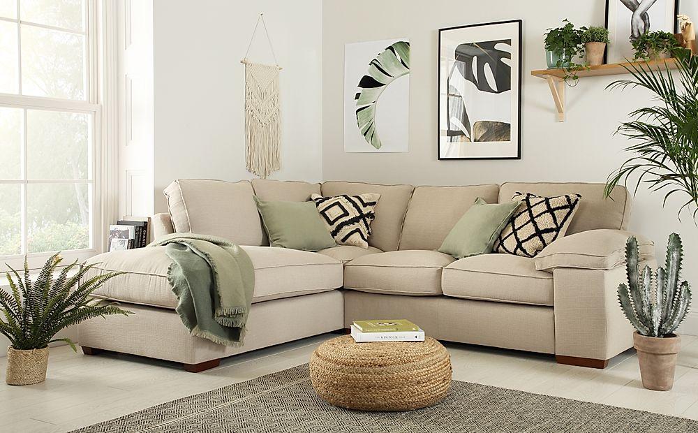Cassie Linen Fabric L Shape Corner Sofa LHF