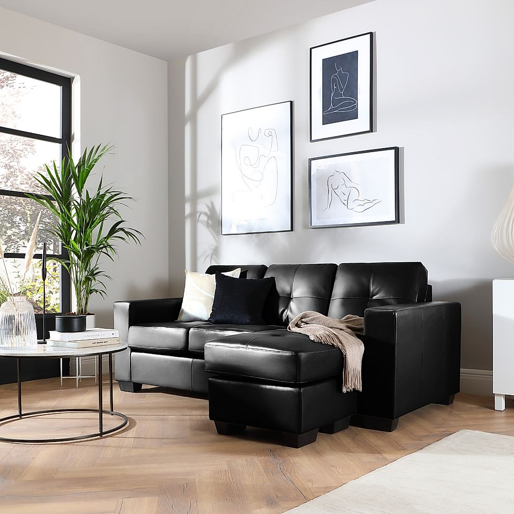 Rio Black Leather L Shape Corner Sofa