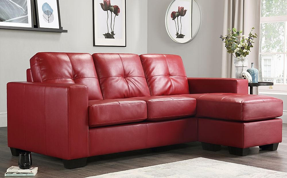 Rio Red Leather Corner Sofa