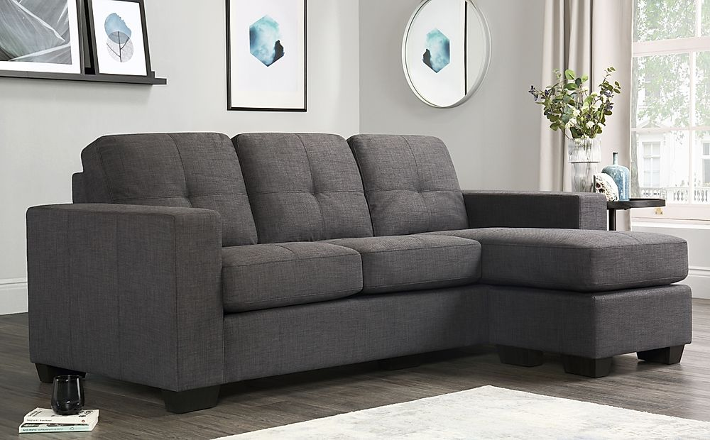 Rio Slate Grey Fabric L Shape Corner Sofa