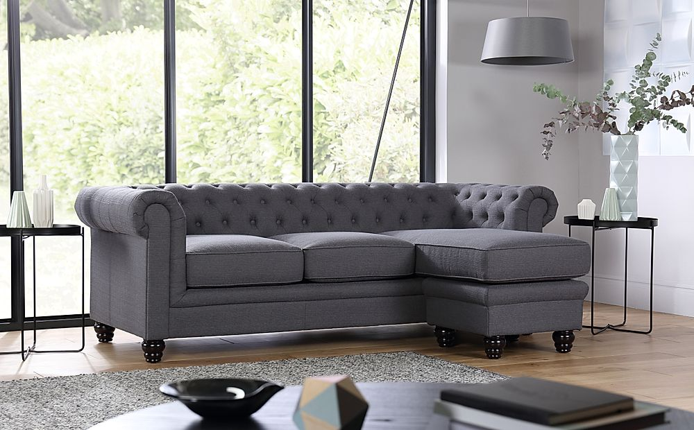 Hampton Slate Fabric L Shape Chesterfield Corner Sofa