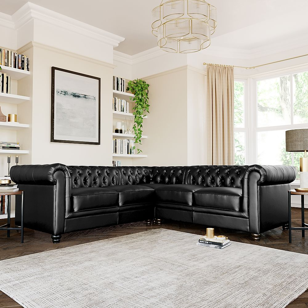 Hampton Chesterfield Black Leather Corner Sofa