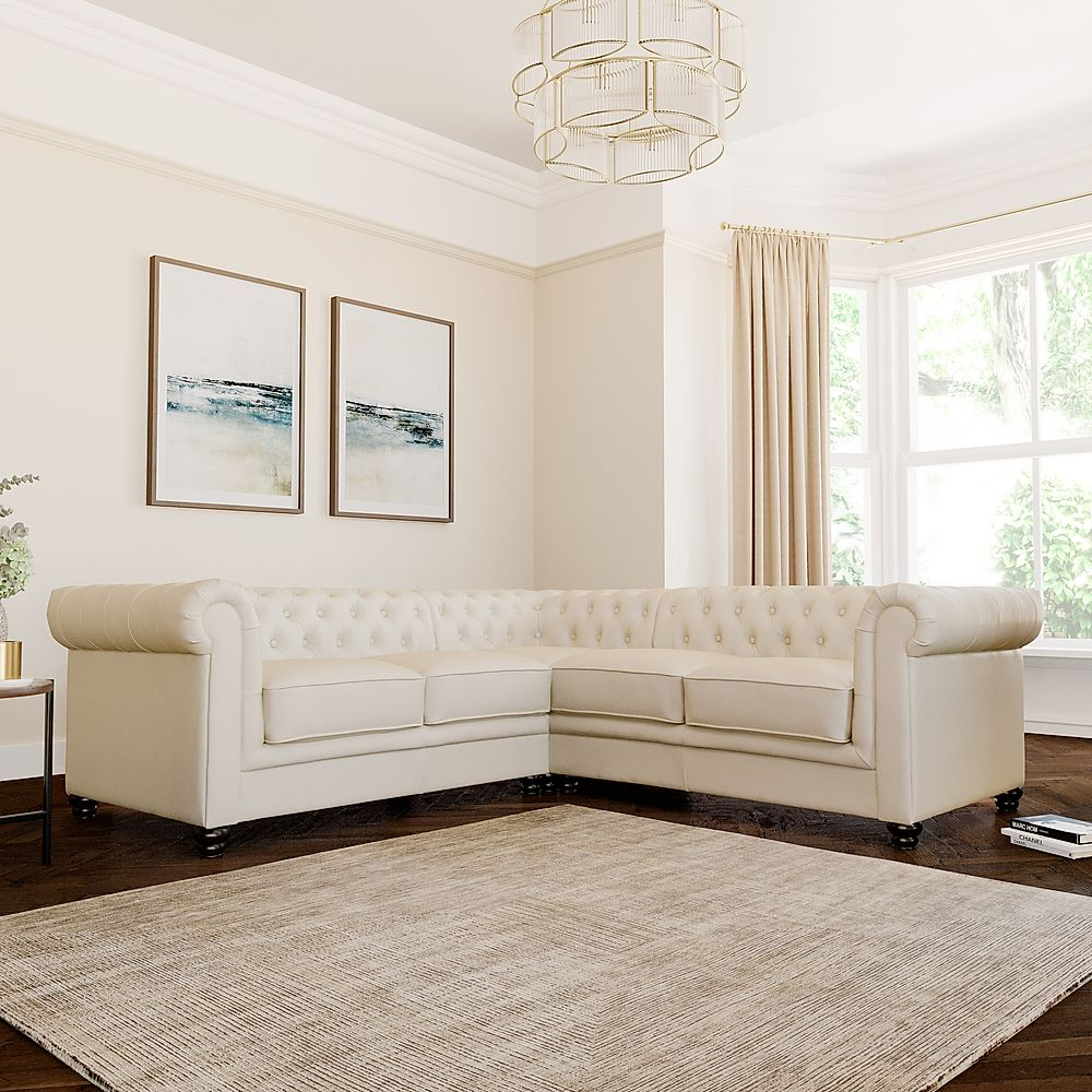 Hampton Chesterfield Ivory Leather Corner Sofa