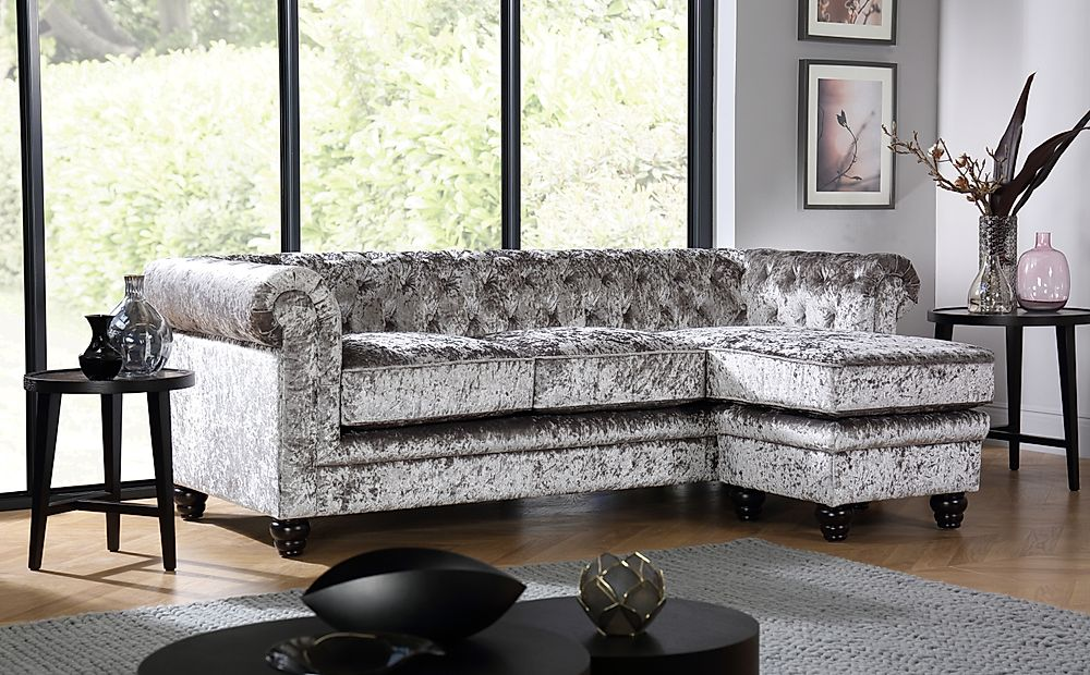 Hampton Silver Crushed Velvet Chesterfield Corner Sofa L Shape