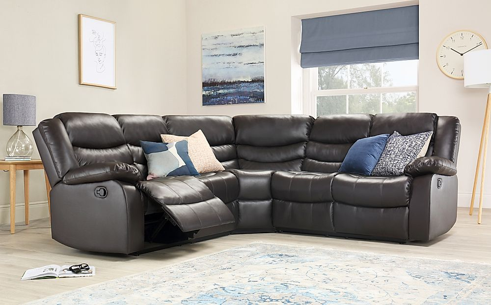 Sorrento Leather Recliner Corner Sofa Brown