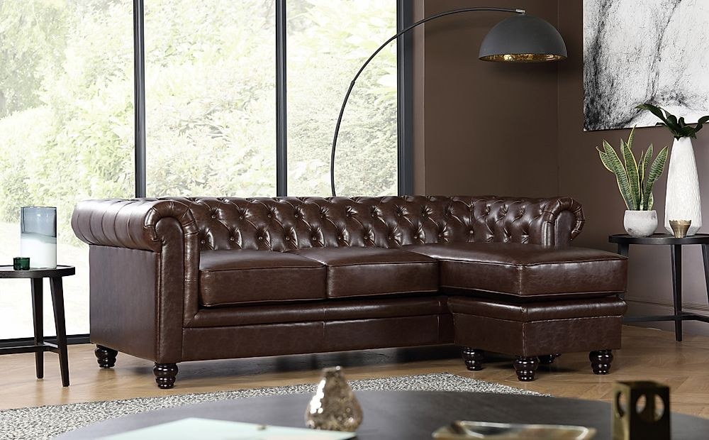 Hampton Antique Chestnut Leather L Shape Chesterfield Corner Sofa