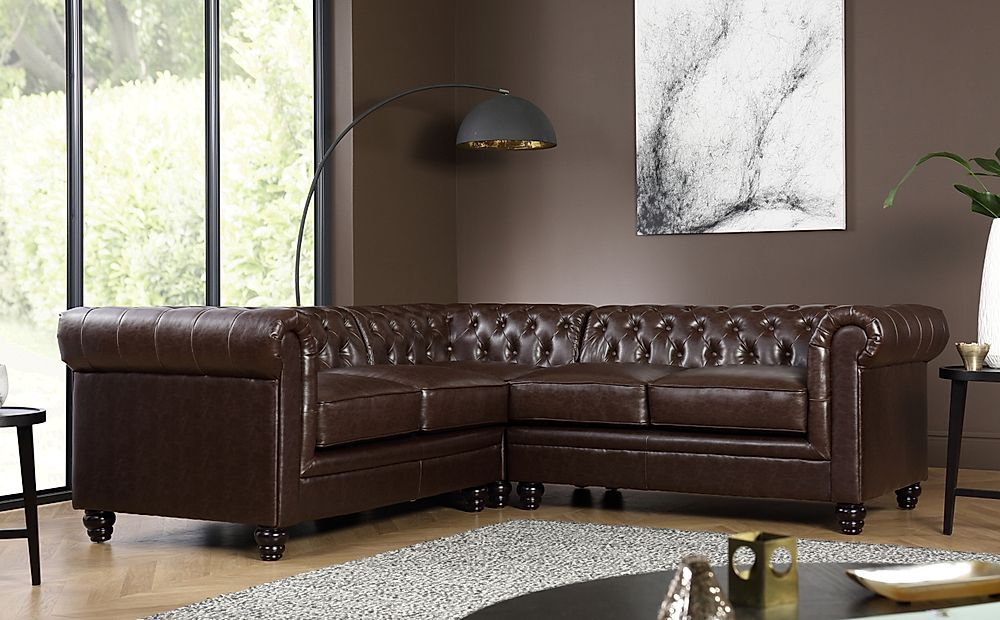 Hampton Chesterfield Antique Chestnut Leather Corner Sofa