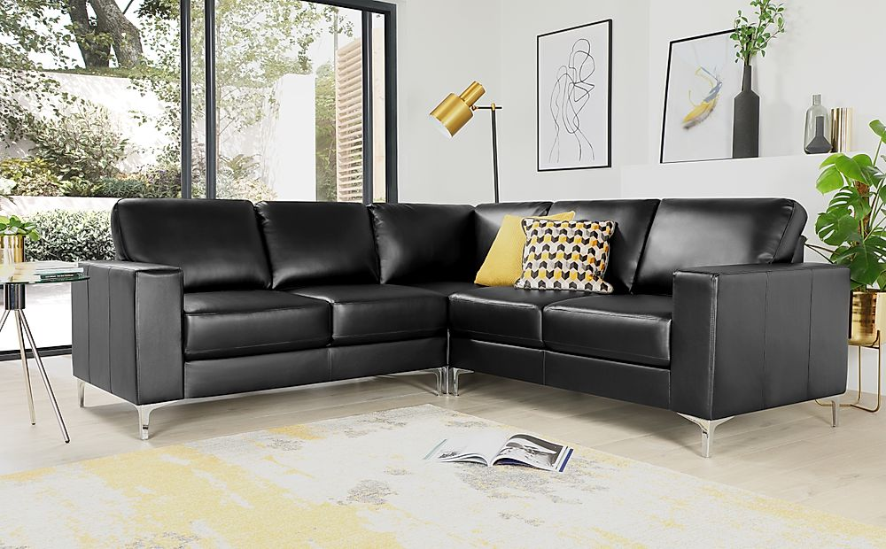 Baltimore Black Leather Corner Sofa