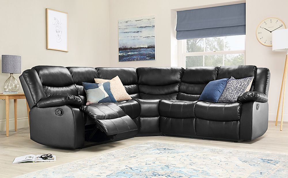 Sorrento Leather Recliner Corner Sofa Black