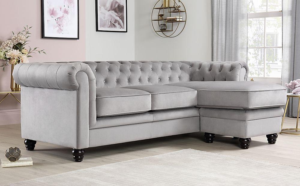 Hampton Grey Velvet Fabric Chesterfield Corner Sofa L Shape