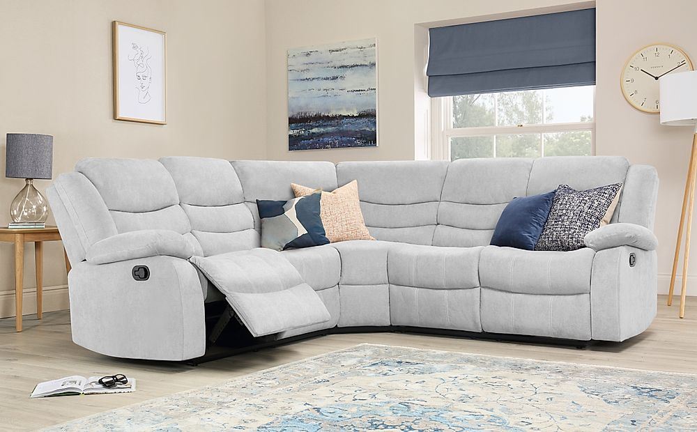Sorrento Dove Grey Plush Fabric Recliner Corner Sofa