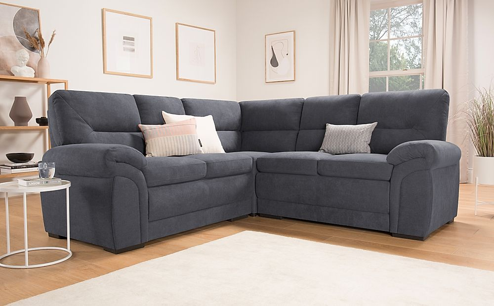 Bromley Slate Grey Plush Fabric Corner Sofa