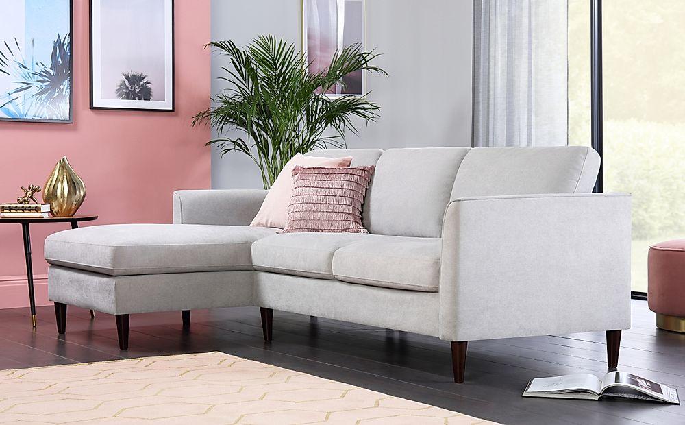 Hayward Dove Grey Plush Fabric L Shape Corner Sofa - LHF