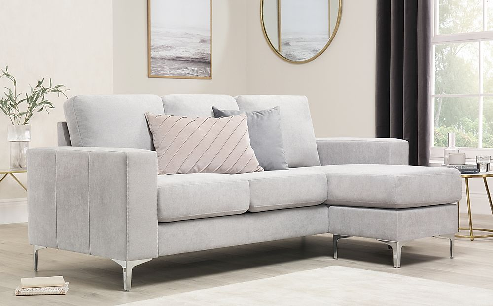 Baltimore Dove Grey Plush Fabric L Shape Corner Sofa