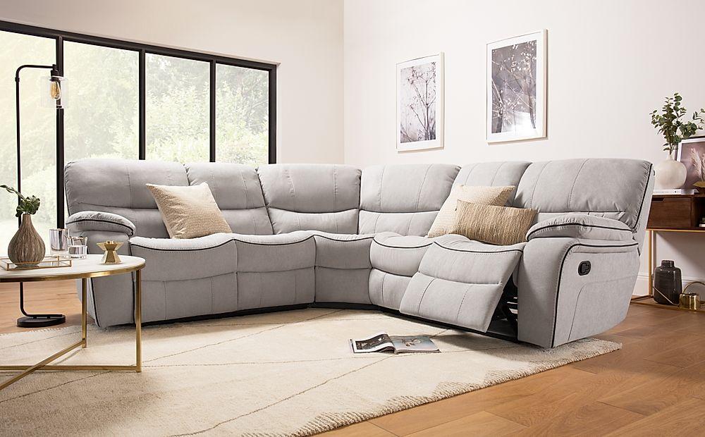 Beaumont Dove Grey Plush Fabric Recliner Corner Sofa