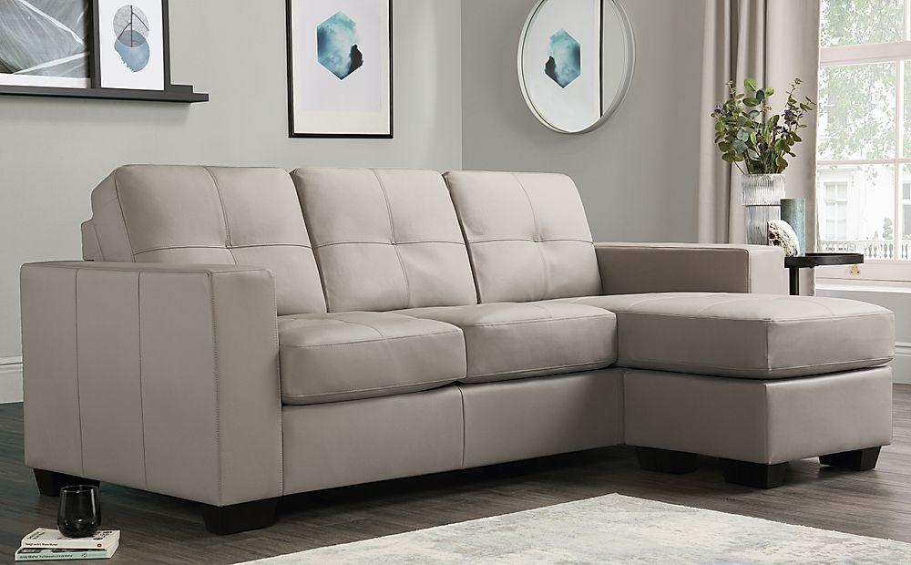 Rio Taupe Leather L Shape Corner Sofa