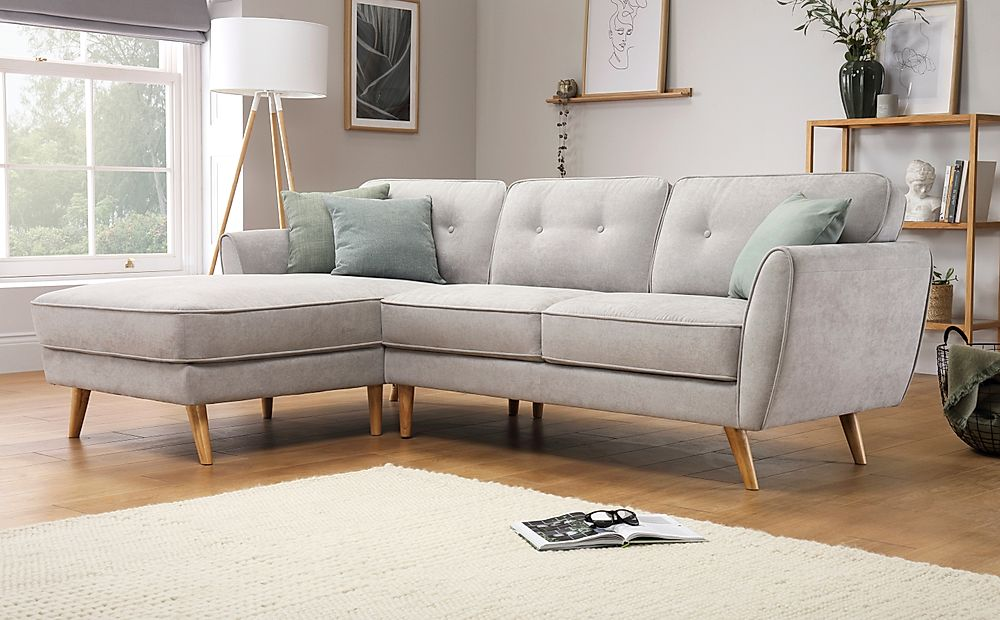 Harlow Dove Grey Plush Fabric L Shape Corner Sofa LHF