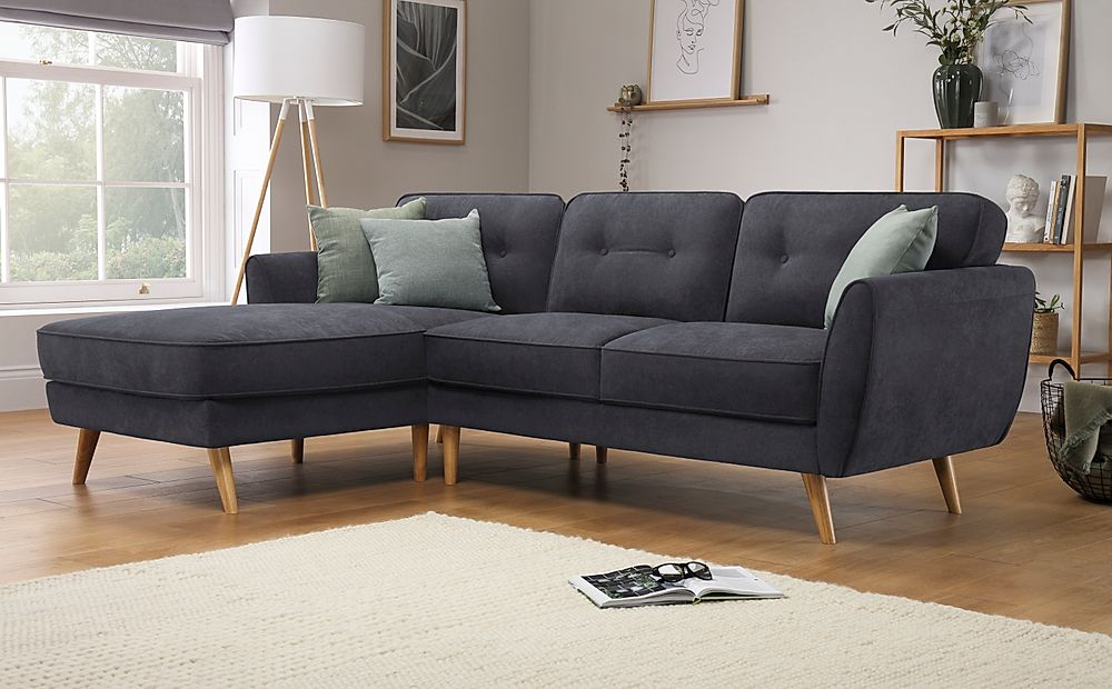 Harlow Slate Grey Plush Fabric L Shape Corner Sofa LHF