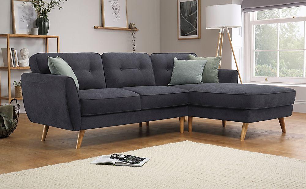 Harlow Slate Grey Plush Fabric L Shape Corner Sofa - RHF