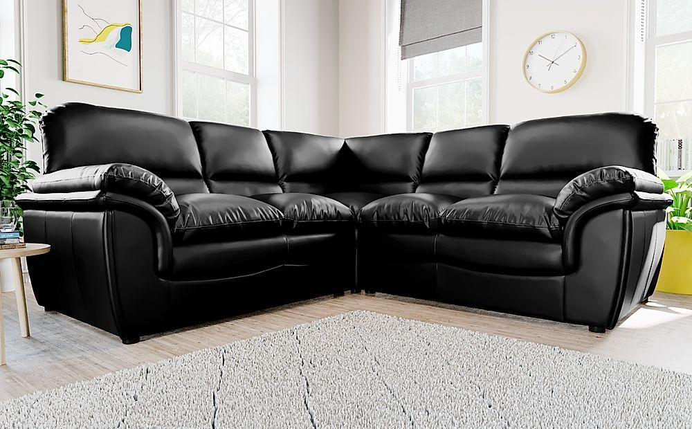 Rochester Black Leather Corner Sofa