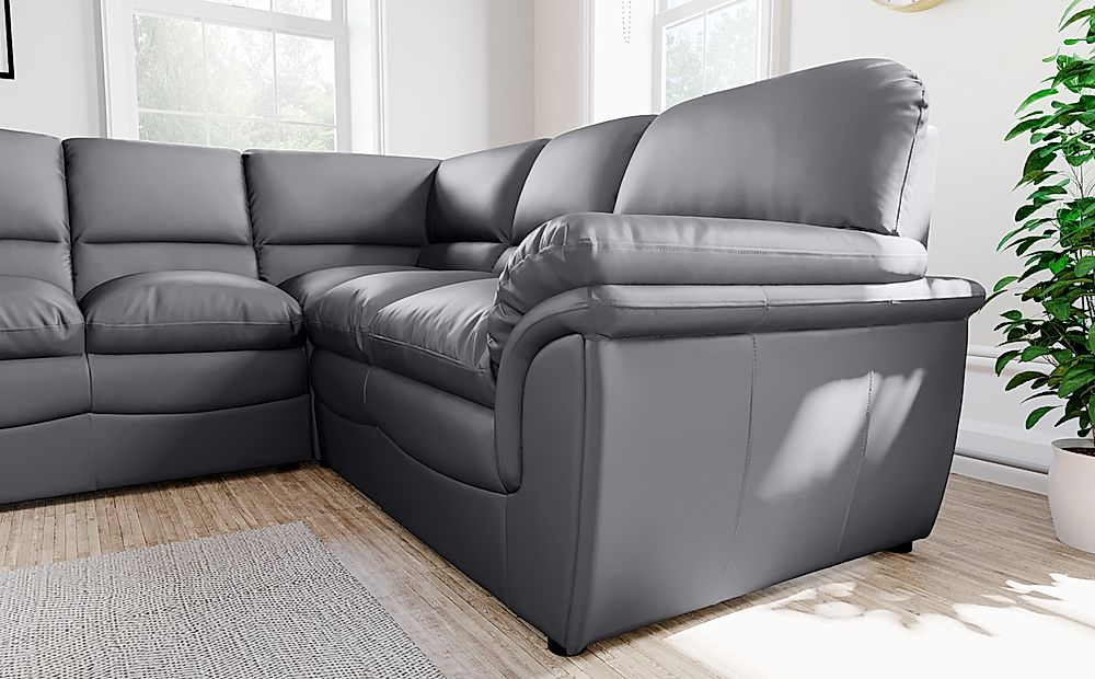 Details about Rochester Grey Leather Corner Sofa