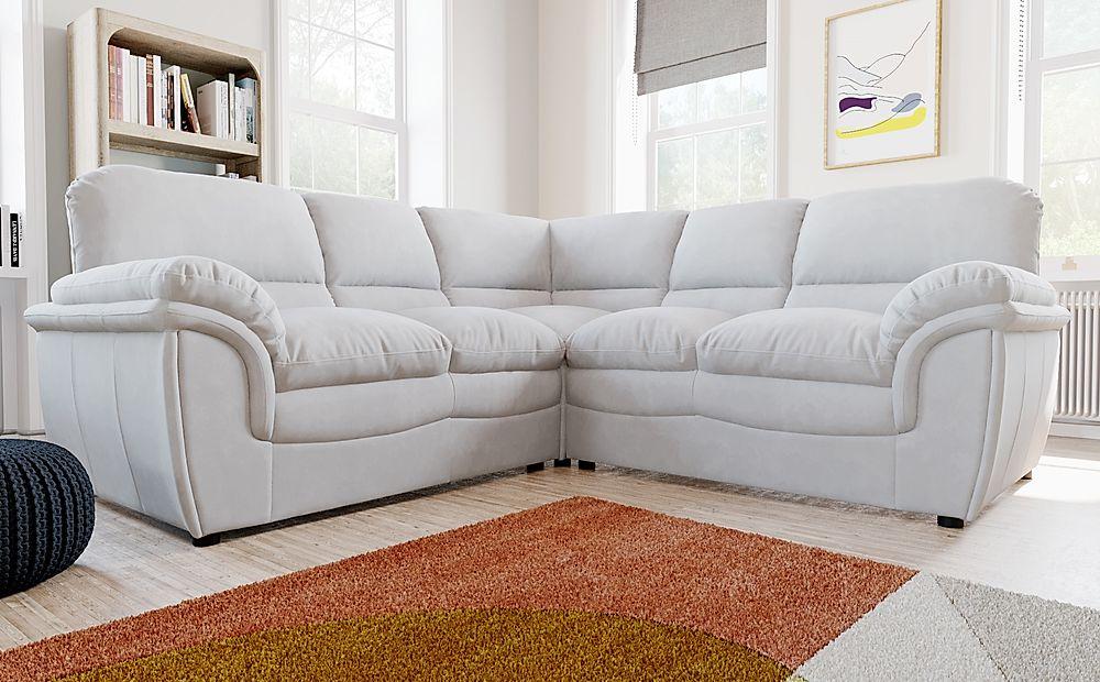 Rochester Dove Grey Plush Fabric Corner Sofa