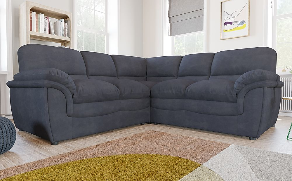 Rochester Slate Grey Plush Fabric Corner Sofa