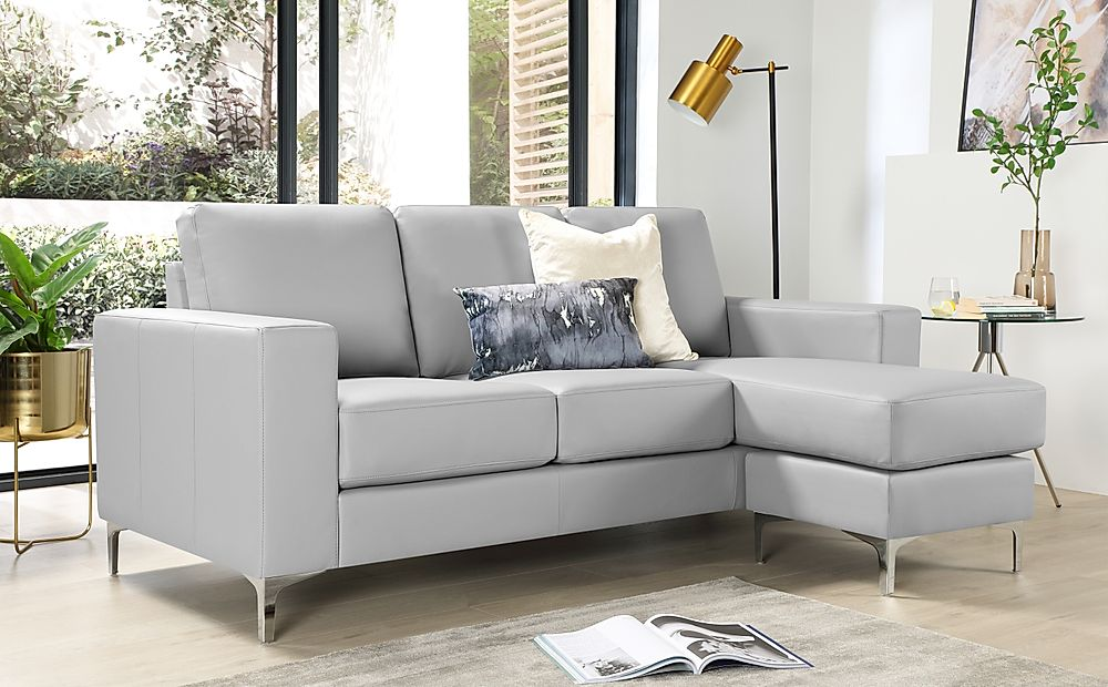 Baltimore Light Grey Leather L Shape Corner Sofa
