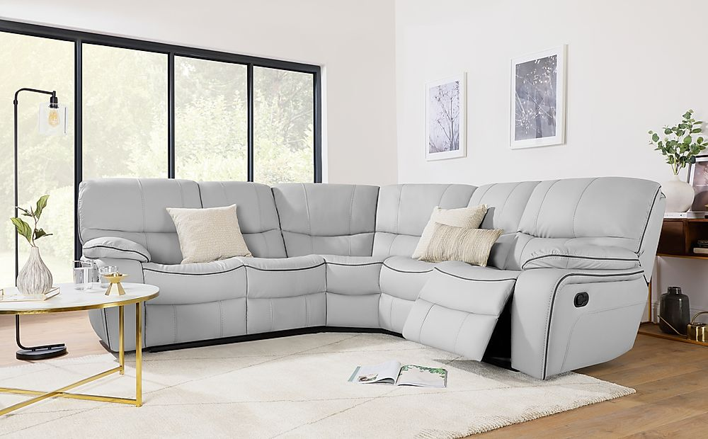 Beaumont Light Grey Leather Recliner Corner Sofa