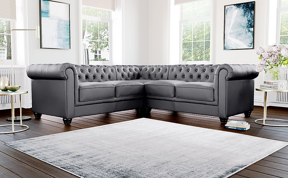 Hampton Grey Leather Chesterfield Corner Sofa