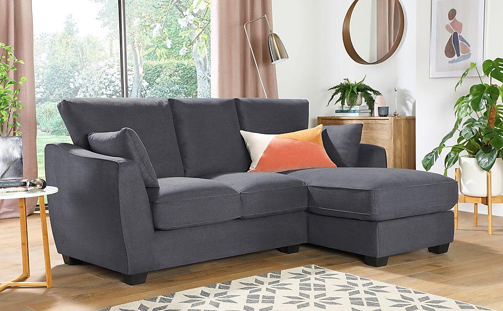 Claremont Slate Grey Plush Fabric L Shape Corner Sofa RHF