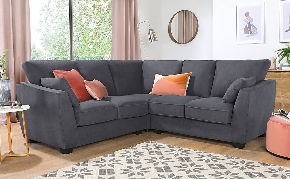 Claremont Slate Grey Plush Fabric Corner Sofa