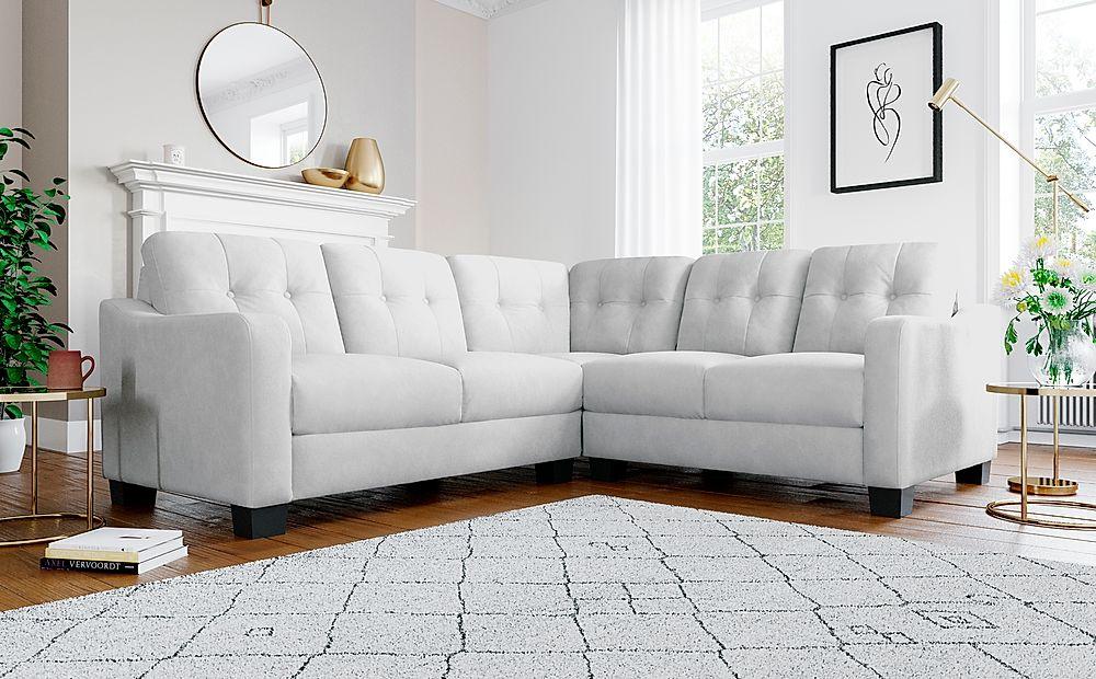 Belmont Dove Grey Plush Fabric Corner Sofa