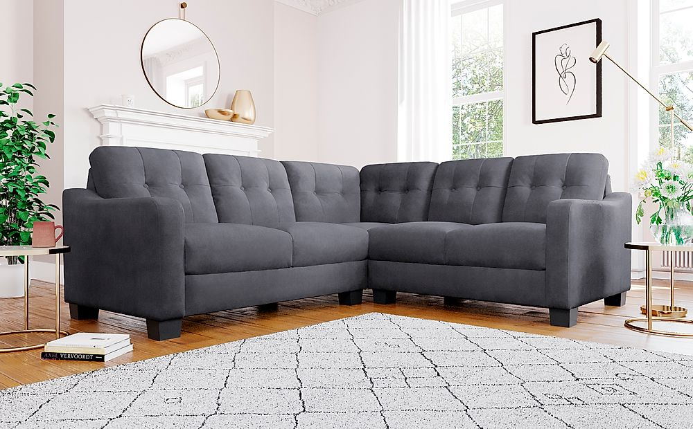 Belmont Slate Grey Plush Fabric Corner Sofa