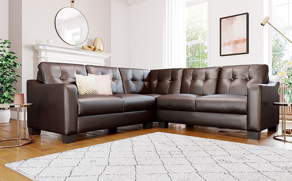 Belmont Brown Leather Corner Sofa