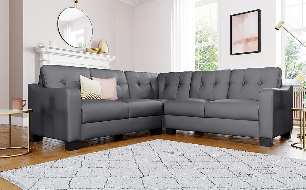 Belmont Grey Leather Corner Sofa