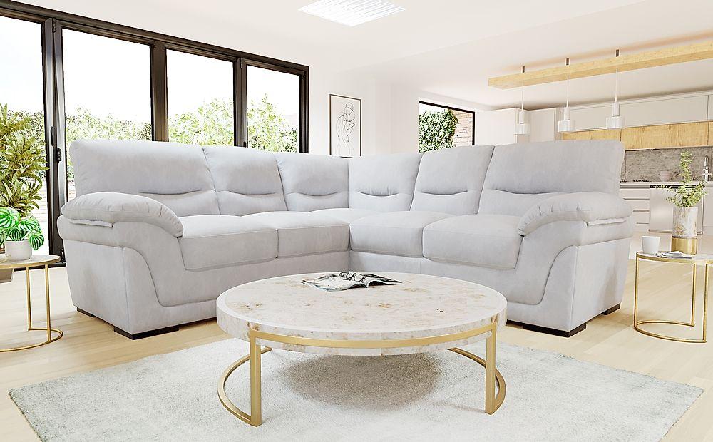 Ascot Dove Grey Plush Fabric Corner Sofa