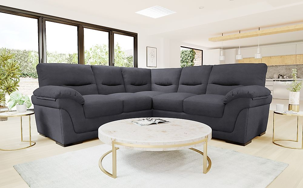 Ascot Slate Grey Plush Fabric Corner Sofa