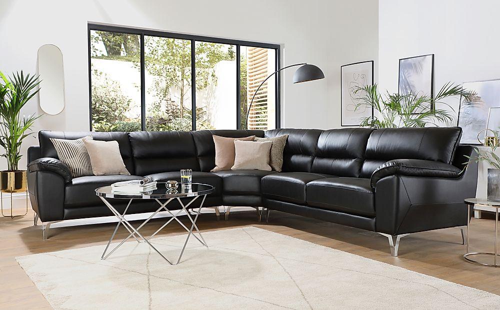 Madrid Black Leather Corner Sofa