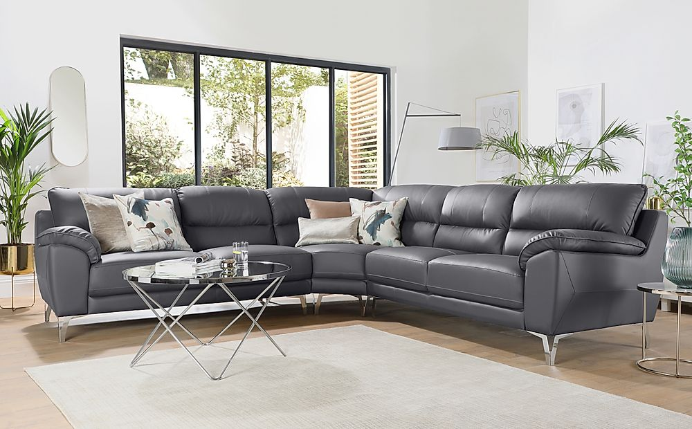 Madrid Grey Leather Corner Sofa
