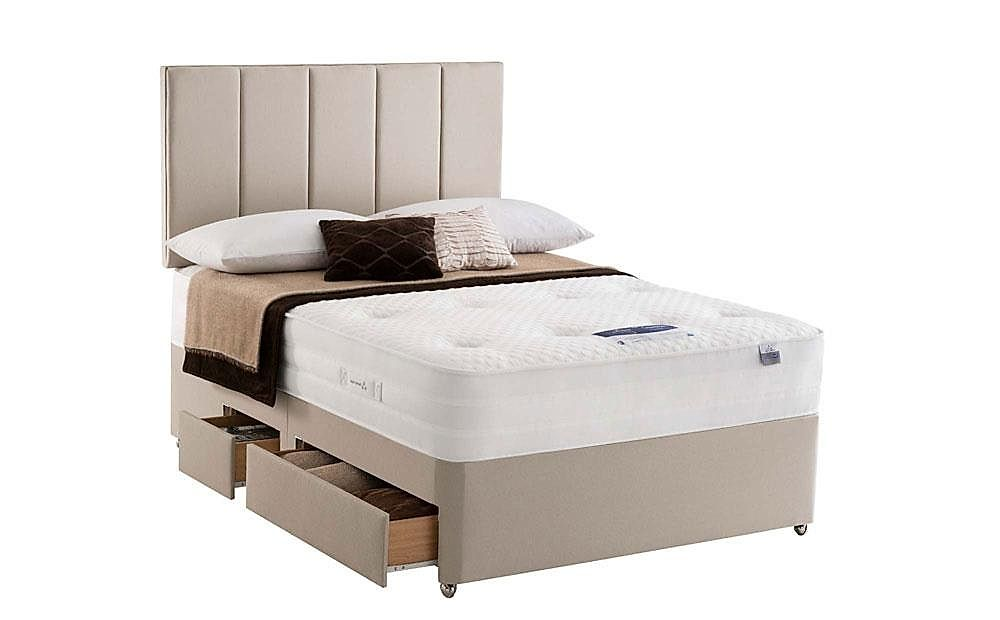 Silentnight Geltex 1000 Double Divan Bed with Ottoman Storage and 2 Drawers