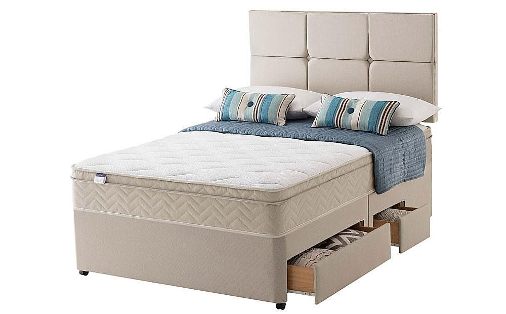 Silentnight Rio Miracoil Cushion Top King Size Divan Bed with Ottoman Storage and 2 Drawers