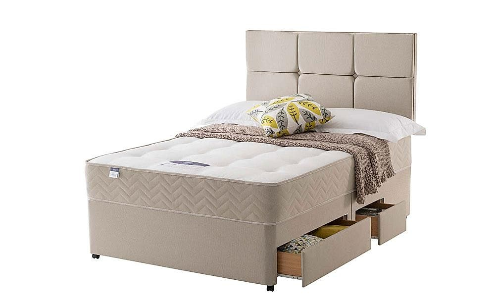 Silentnight Amsterdam Miracoil Ortho Double Divan Bed with Ottoman Storage and 2 Drawers